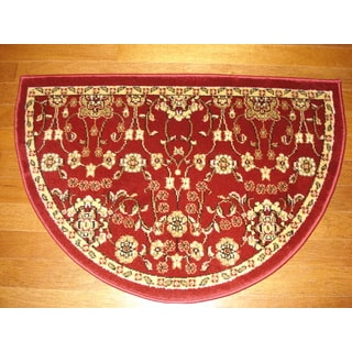 Fireplace Floral Red/ Beige Hearth Rug (2'2 x 3'2)