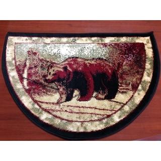 Bear Wildlife Animal Red/ Beige Hearth Rug (2'2 x 3'2)