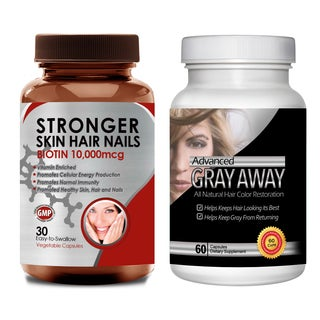 Turn Gray Hair Away All-natural Hair Color Restoration and Biotin (Pack of 2)