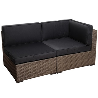 Atlantic Modena 2-piece Grey Wicker Seating Set with Grey Cushions