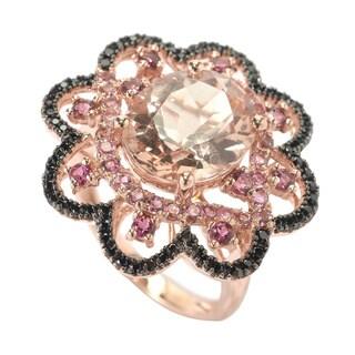 14k Rose Gold Morganite Pink Tourmaline and Black Spinel Ring