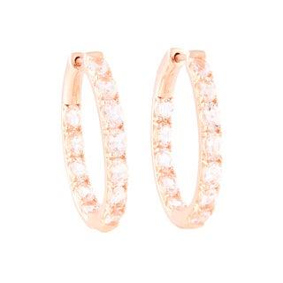 14k Rose Gold over Silver Morganite Inside-out Hoop Earrings