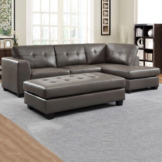Carmine Grey Bonded Leather Sectional With Chaise And Optional Ottoman