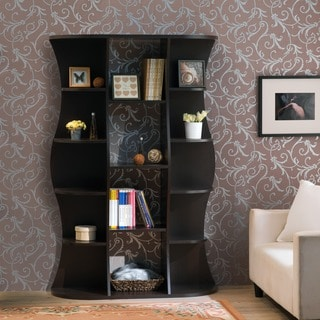 Furniture of America Collins Contemporary Curvy Walnut Wall Bookcase
