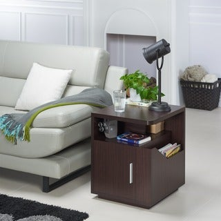 Furniture of America Modern Jules Black Storage End Table