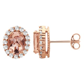14k Pink Goldplated Sterling Silver Morganite and White Sapphire Fashion Earrings