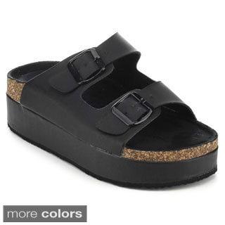 Nature Breeze Crush-01 Women's Slip-on Buckle Strappy Platform Sandals