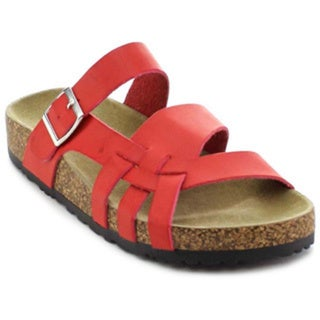 Nature Breeze Melbourne-09 Women's Strappy Buckled Comfort Sole Sandal
