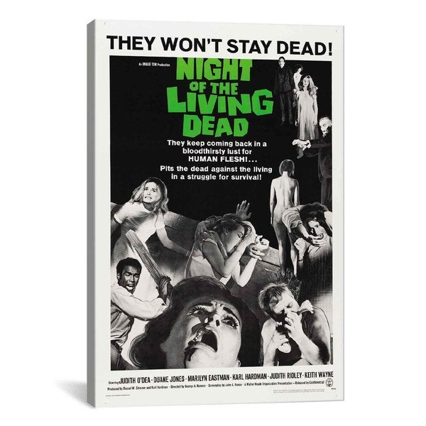 iCanvas Night of The Living Dead (Movie) Advertising Vintage Poster #5230 Canvas Print Wall Art