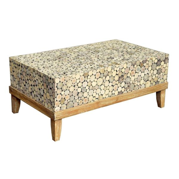 Decorative Dundee Rustic Off White Rectangle Coffee Table