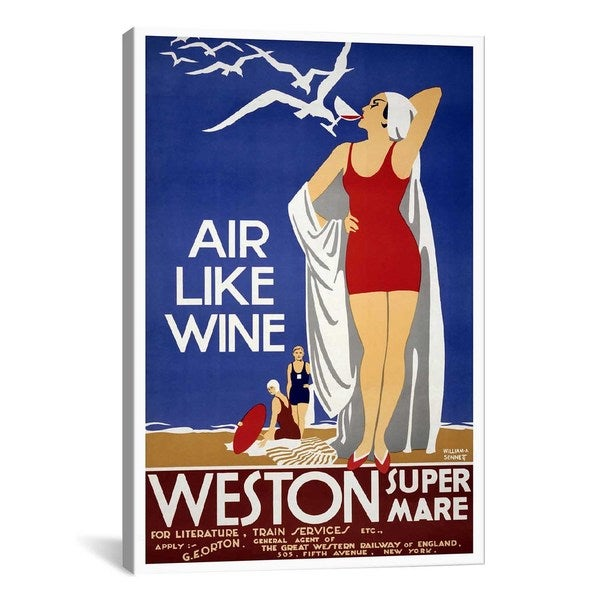 iCanvas Air Like Wine (Weston Super Mare) Advertising Vintage Poster #5240 Canvas Print Wall Art