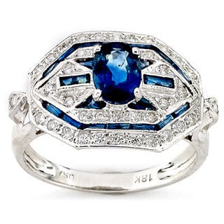 Diamonds for a Cure 18k White Gold Blue Sapphire 1/3ct TDW Diamond Cocktail Ring (H-I, SI1-SI2)