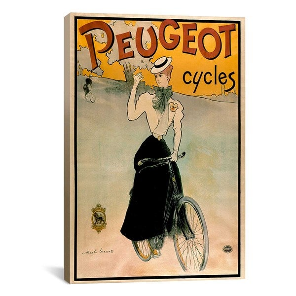 iCanvas Peugeot Cycles Advertising Vintage Poster Canvas Print Wall Art