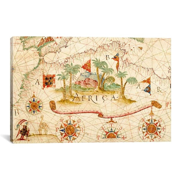 iCanvas Luis Teixeira Nautical chart of Mediterranean area including part of Europe & Africa Canvas Print Wall Art