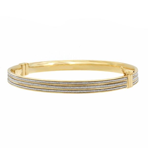 Sterling Essentials 14k Goldplated Silver Glitter Bangle Bracelet