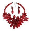 Exotic Floral Burst Red Coral Sterling Silver Jewelry Set (Thailand)