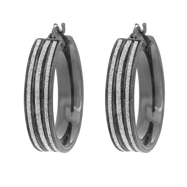 Sterling Essentials Black Rhodium Plated Silver Glitter Hoop Earrings