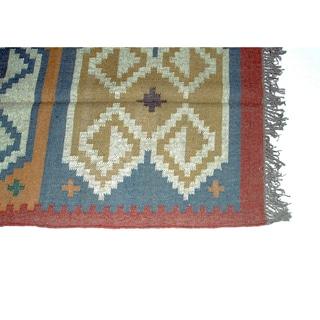 Timbergirl Indo Mustard/Blue Wool Jute Kilim Area Rug (3' x 5')