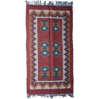 Timbergirl Indo Red/ Orange Wool and Jute Kilim Area Rug (3' x 5')