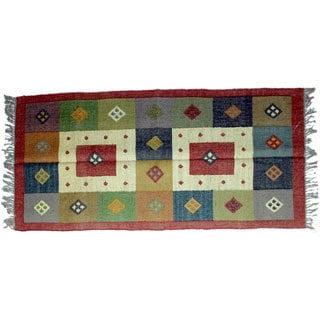 Timbergirl Indo Multicolor Wool Jute Kilim Area Rug (3' x 5')