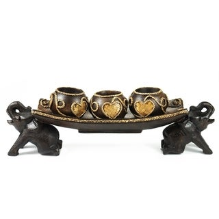 Thai Elephant Tray Carved Rain Tree Wooden Candle Holder (Thailand)
