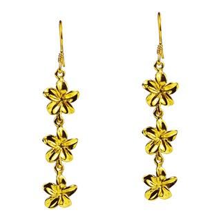 Triple Plumeria Gold Vermeil Solid .925 Silver Earrings (Thailand)