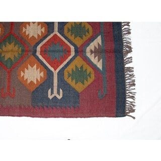 Timbergirl Indo Red/ Blue Wool Jute Kilim Area Rug (3' x 5')