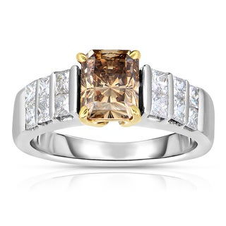 Eloquence 18k Two-tone Gold 2 3/4ct TDW Cognac and White Diamond Engagement Ring (H-I, SI2-SI3)