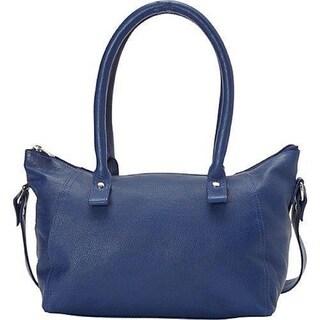 SHARO Blue Leather Handbag with Attached Shoulder Strap