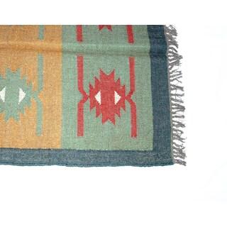 Timbergirl Indo Green/Yellow Wool Jute Kilim Area Rug (3' x 5')