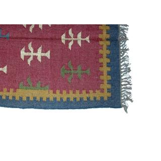Timbergirl Indo Magenta Wool and Jute Kilim Area Rug (3' x 5')