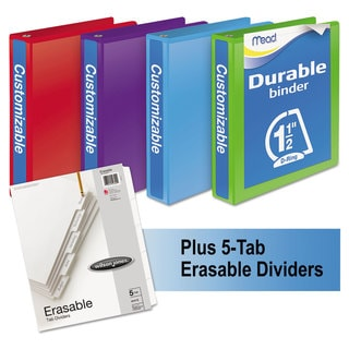 Mead Durable D-Ring View Binder Plus Pack with 1.5-inch Cap