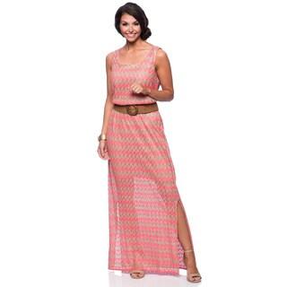 Jessica Howard Missy Coral Sleeveless Scoop Neck Blouson Maxi Dress