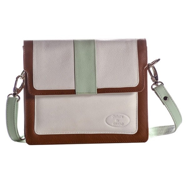 SHARO White/ Mint Genuine Leather Cross-body Bag