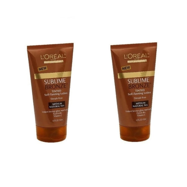 L'Oreal Paris Sublime Bronze Medium Natural Tan Tinted Self-Tanning Lotion (Pack of 2)