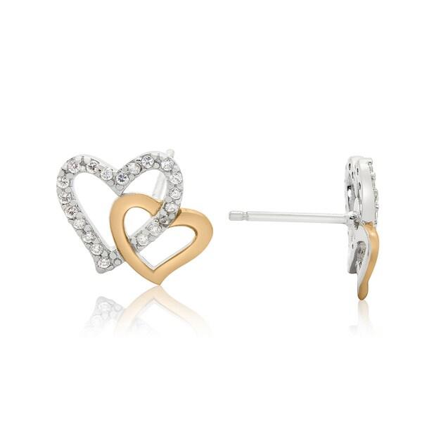 Gioelli Sterling Silver Two-tone Cubic Zirconia Interlocked Hearts Stud Earrings