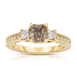Eloquence 14k Yellow Gold 1 1/2ct TDW Cognac and White Diamond Ring (H-I, I1-I2)