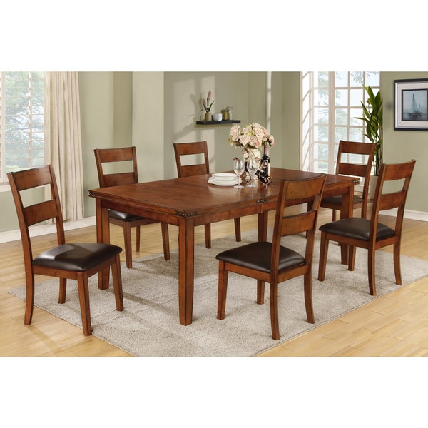 Siirt 7-Piece Dining Set in Medium Oak Finish