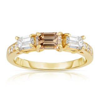 Eloquence 18k Yellow Gold 1 1/3ct TDW Cognac and White 3-stone Diamond Ring (H-I, SI1-SI2)