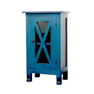 Decorative Shutler Casual Blue Square Accent Table