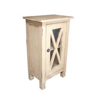 Decorative Shutler Casual Off-White Square Accent Table