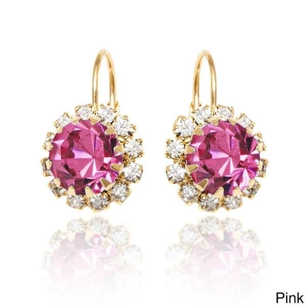Goldplated Crystal Flower Leverback Earrings 15235426