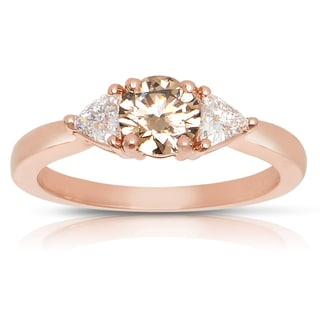 Eloquence 14k Rose Gold 7/8ct TDW 3-stone Champagne and White Diamond Engagement Ring (H-I, SI1-SI2)