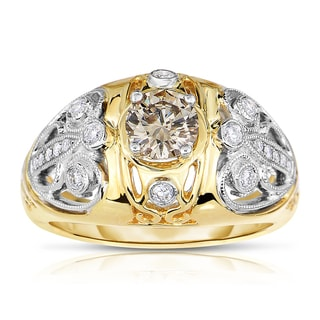 Eloquence 14k Two-tone Gold 3/4ct TDW Champagne and White Diamond Engagement Ring (H-I, I1-I2)