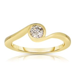 Eloquence 14k Yellow Gold 1/3ct TDW Solitaire Champagne Diamond Ring