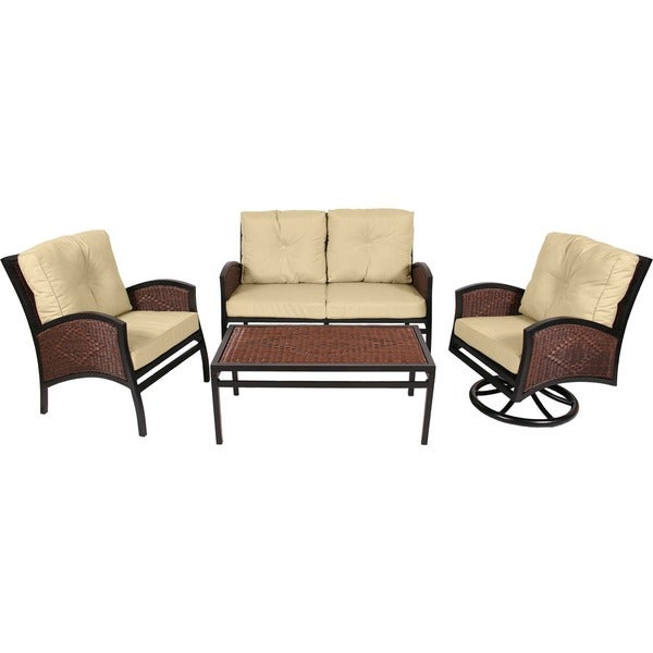 Commercial Grade Monroe Collection 4-piece Resin Wicker Seating Set