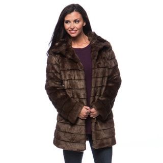 Anne Klein Faux Fur Stand Collar Women's Coat