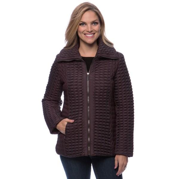 Anne Klein Women's Zip-front Popcorn Quilt Coat