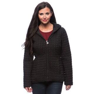 Anne Klein Women's Hooded Zip-front Popcorn Quilt Coat