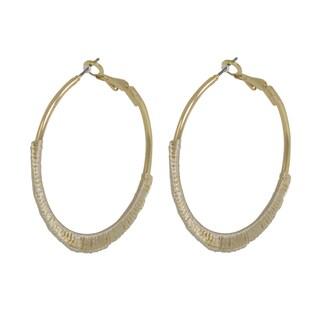 NEXTE Jewelry Wrapped Biege Silk Hoop Earrings